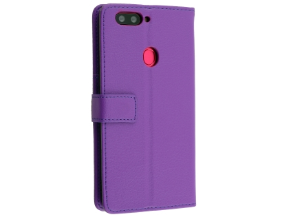 Synthetic Leather Wallet Case with Stand for Oppo R11s - Purple Leather Wallet Case