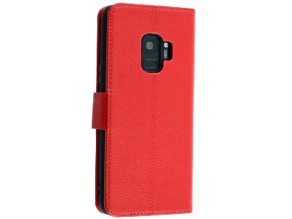 Premium Leather Wallet Case for Samsung Galaxy S9 - Red Leather Wallet Case