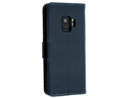 Premium Leather Wallet Case for Samsung Galaxy S9 - Navy Leather Wallet Case