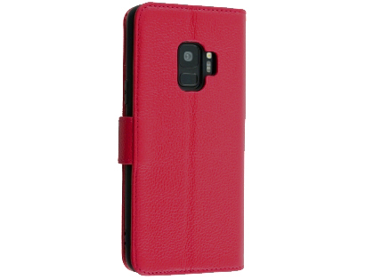 Premium Leather Wallet Case for Samsung Galaxy S9 - Pink Leather Wallet Case