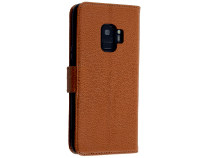 Premium Leather Wallet Case for Samsung Galaxy S9 - Tan Leather Wallet Case