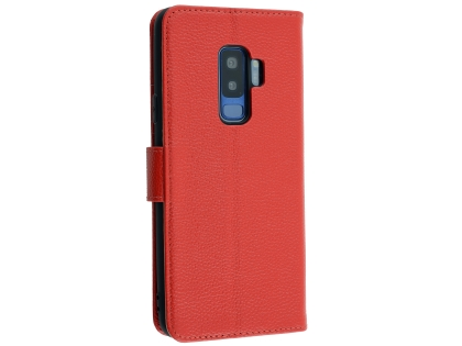 Premium Leather Wallet Case for Samsung Galaxy S9+ - Red Leather Wallet Case