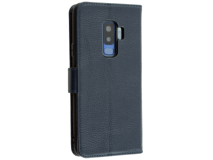 Premium Leather Wallet Case for Samsung Galaxy S9+ - Navy Leather Wallet Case