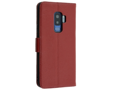 Premium Leather Wallet Case for Samsung Galaxy S9+ - Burgundy Leather Wallet Case