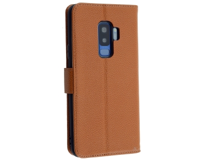 Premium Leather Wallet Case for Samsung Galaxy S9+ - Caramel Leather Wallet Case