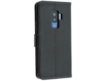 Premium Leather Wallet Case for Samsung Galaxy S9+ - Black Leather Wallet Case