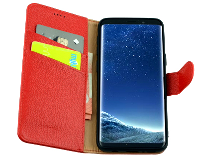 Premium Leather Wallet Case for Samsung Galaxy S9 - Red