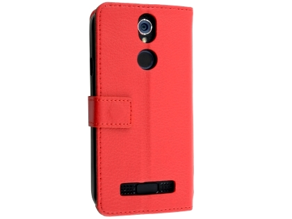 Synthetic Leather Wallet Case with Stand for Telstra Tough Max 2 - T85 - Red Leather Wallet Case