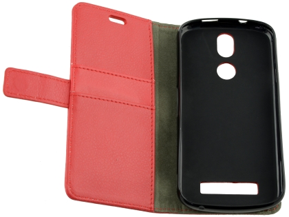 Synthetic Leather Wallet Case with Stand for Telstra Tough Max 2 - T85 - Red