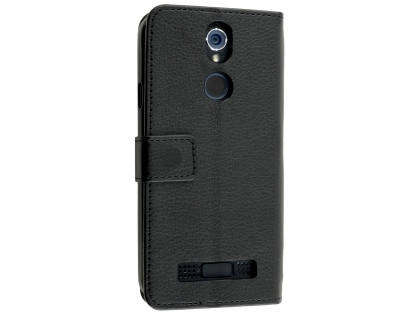 Synthetic Leather Wallet Case with Stand for Telstra Tough Max 2 - T85 - Black Leather Wallet Case