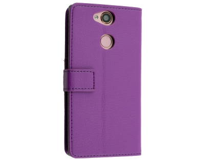 Synthetic Leather Wallet Case with Stand for Sony Xperia XA2 - Purple Leather Wallet Case