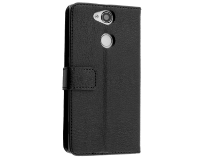 Synthetic Leather Wallet Case with Stand for Sony Xperia XA2 - Black Leather Wallet Case