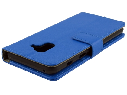 Synthetic Leather Wallet Case with Stand for Samsung Galaxy A8 (2018) - Blue