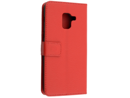 Synthetic Leather Wallet Case with Stand for Samsung Galaxy A8 (2018) - Red Leather Wallet Case