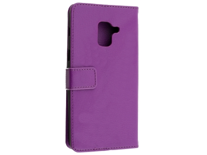 Synthetic Leather Wallet Case with Stand for Samsung Galaxy A8 (2018) - Purple Leather Wallet Case