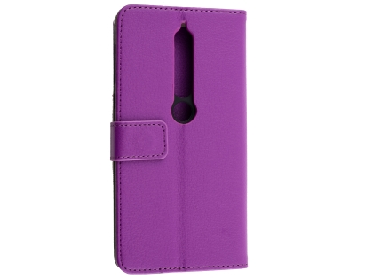 Synthetic Leather Wallet Case with Stand for Nokia 6.1 (2018) - Purple Leather Wallet Case