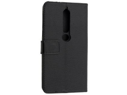 Synthetic Leather Wallet Case with Stand for Nokia 6.1 (2018) - Black Leather Wallet Case