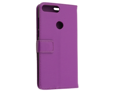 Slim Synthetic Leather Wallet Case with Stand for Huawei Y7 Prime (2018) - Purple Leather Wallet Case