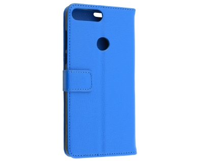 Slim Synthetic Leather Wallet Case with Stand for Huawei Y7 Prime (2018) - Blue Leather Wallet Case
