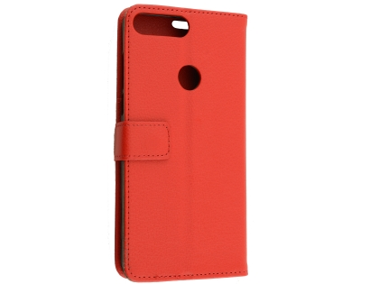 Slim Synthetic Leather Wallet Case with Stand for Huawei Y7 Prime (2018) - Red Leather Wallet Case