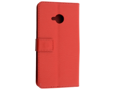 Synthetic Leather Wallet Case with Stand for HTC U11 Life - Red Leather Wallet Case