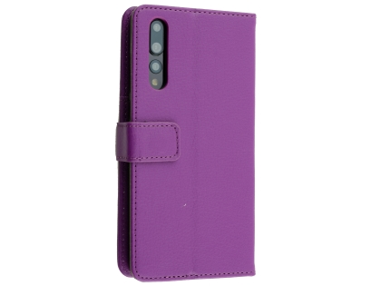 Synthetic Leather Wallet Case with Stand for Huawei P20 Pro - Purple Leather Wallet Case
