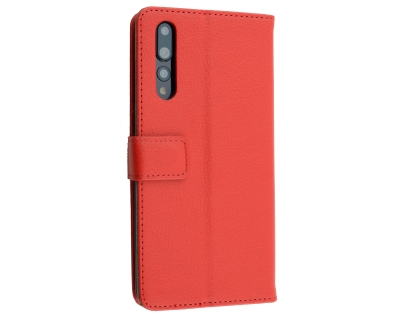 Synthetic Leather Wallet Case with Stand for Huawei P20 Pro - Red Leather Wallet Case