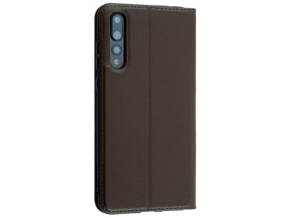 Top Grain Leather Case With Windows for Huawei P20 Pro - Dark Brown Leather Case