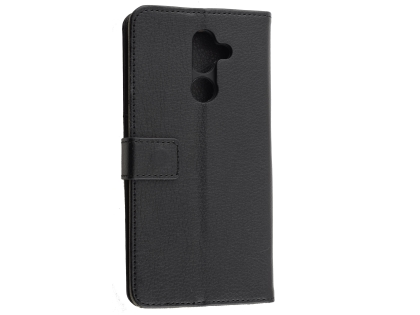 Synthetic Leather Wallet Case with Stand for Nokia 7 Plus - Black Leather Wallet Case