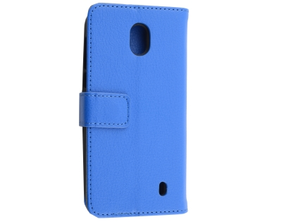 Synthetic Leather Wallet Case with Stand for Nokia 1 - Blue Leather Wallet Case