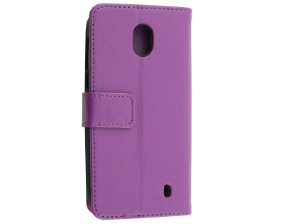Synthetic Leather Wallet Case with Stand for Nokia 1 - Purple Leather Wallet Case
