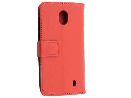 Synthetic Leather Wallet Case with Stand for Nokia 1 - Red Leather Wallet Case