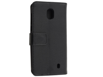 Synthetic Leather Wallet Case with Stand for Nokia 1 - Black Leather Wallet Case