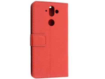 Synthetic Leather Wallet Case with Stand for Nokia 8 Sirocco - Red Leather Wallet Case