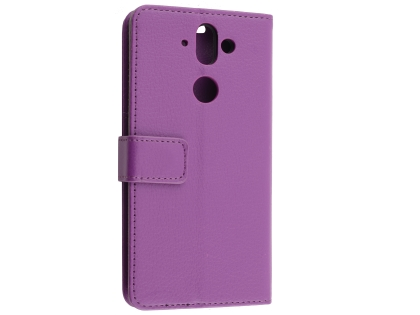 Synthetic Leather Wallet Case with Stand for Nokia 8 Sirocco - Purple Leather Wallet Case