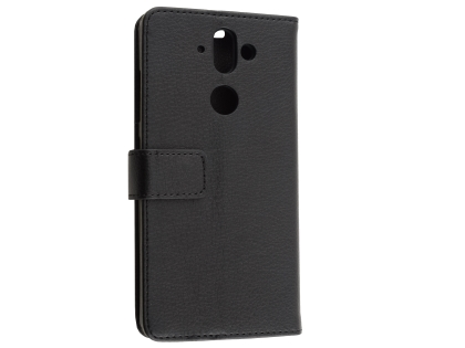 Synthetic Leather Wallet Case with Stand for Nokia 8 Sirocco - Black Leather Wallet Case