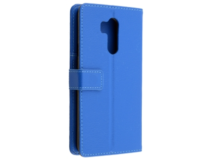 Synthetic Leather Wallet Case with Stand for LG G7 ThinQ - Blue Leather Wallet Case