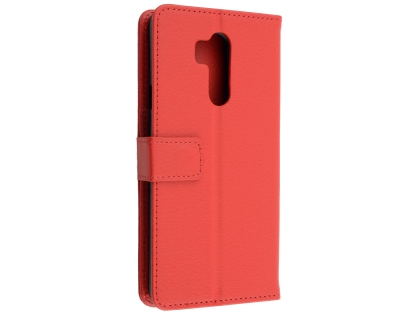 Synthetic Leather Wallet Case with Stand for LG G7 ThinQ - Red Leather Wallet Case