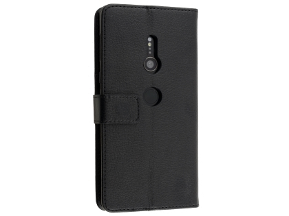 Synthetic Leather Wallet Case with Stand for Sony Xperia XZ2 - Black Leather Wallet Case