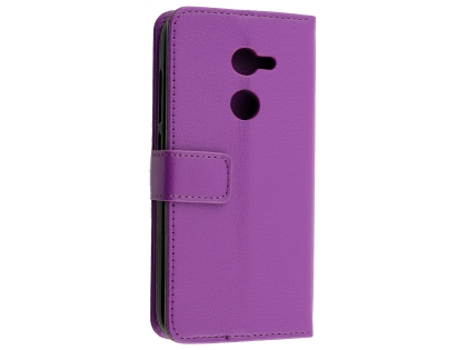 Synthetic Leather Wallet Case with Stand for Alcatel A3 - Purple Leather Wallet Case