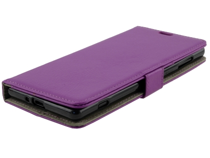 Synthetic Leather Wallet Case with Stand for Sony Xperia XZ2 - Purple