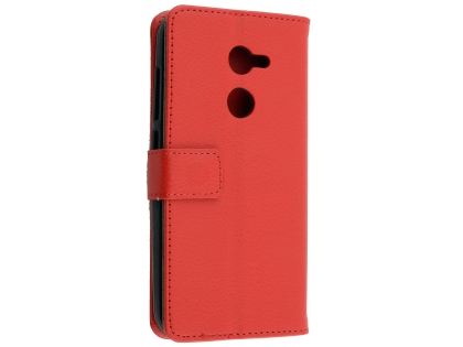 Synthetic Leather Wallet Case with Stand for Alcatel A3 - Red Leather Wallet Case