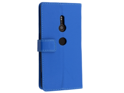 Synthetic Leather Wallet Case with Stand for Sony Xperia XZ2 - Blue Leather Wallet Case