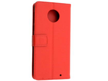 Synthetic Leather Wallet Case with Stand for Motorola Moto G6 Plus - Red Leather Wallet Case