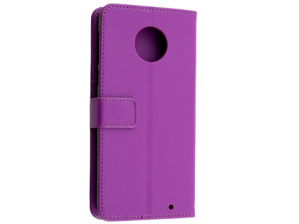 Synthetic Leather Wallet Case with Stand for Motorola Moto G6 - Purple Leather Wallet Case
