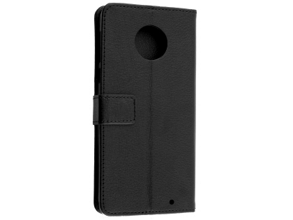 Synthetic Leather Wallet Case with Stand for Motorola Moto G6 - Black Leather Wallet Case