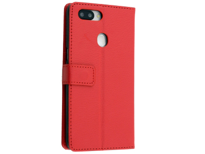 Synthetic Leather Wallet Case with Stand for OPPO R15 Pro - Red Leather Wallet Case