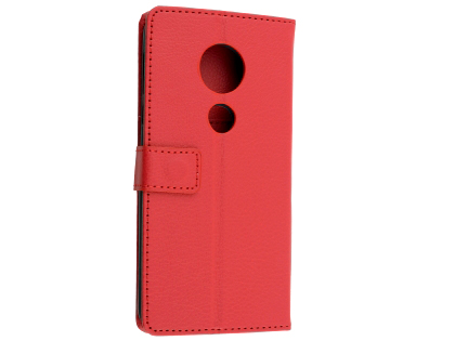 Synthetic Leather Wallet Case with Stand for Motorola Moto E5 - Red Leather Wallet Case