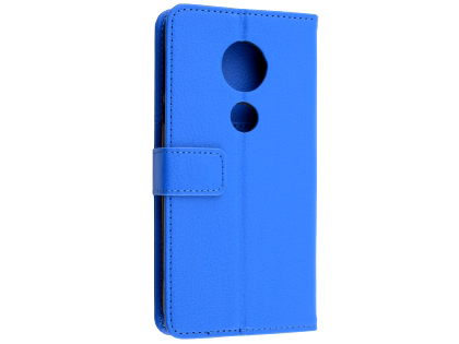 Synthetic Leather Wallet Case with Stand for Motorola Moto E5 - Blue Leather Wallet Case