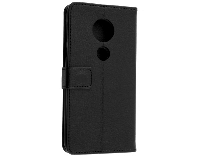 Synthetic Leather Wallet Case with Stand for Motorola Moto E5 - Black Leather Wallet Case